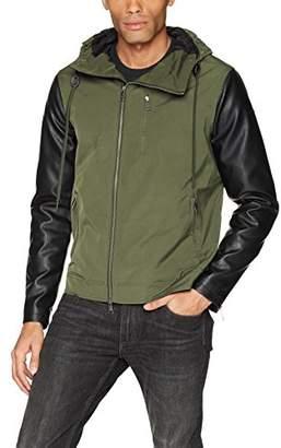 Armani Exchange A|X Men's Mixed Fabrication Hooded Zip up Jacket
