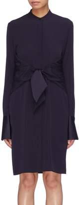 Victoria Beckham VICTORIA, Tie front Mandarin collar shirt dress