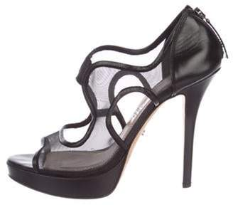 Jerome C. Rousseau Leather High-Heel Sandals Black Leather High-Heel Sandals