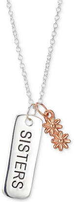 "Unwritten Two-Tone ""Sisters"" Bar & Flower 18"" Pendant Necklace in Sterling Silver"