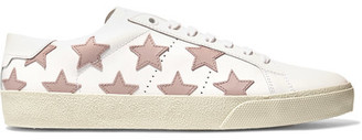 Saint Laurent - Court Classic Appliquéd Leather Sneakers - White $620 thestylecure.com