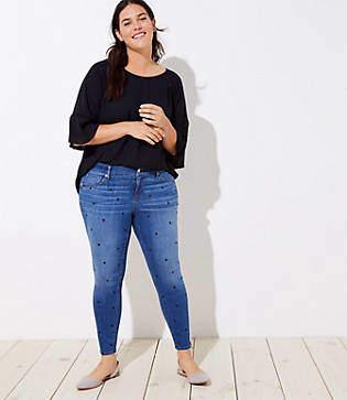 a0e45752b9803 LOFT Plus Modern Dot Skinny Jeans in Bright Mid Indigo Wash