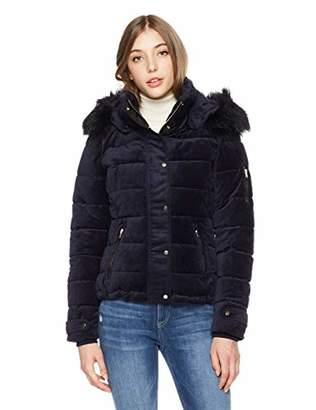 Royal Matrix Women's Removable Faux Fur Hooded Warm Jacket with Zipper Pocket on Sleeve (