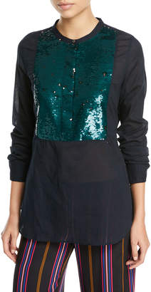 Figue Manuela Beaded Tuxedo Shirt