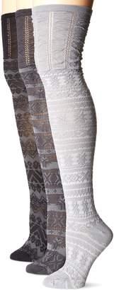 Muk Luks Women's Knee High Microfiber Pattern Socks