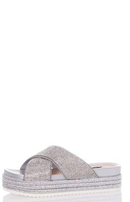 Quiz Silver Diamante Strap Flatform Sandals
