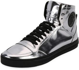 Versace Men's Metallic Leather High-Top Sneakers Silver