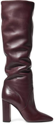Saint Laurent Lou Leather Knee Boots - Burgundy