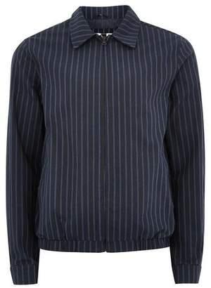 Topman Mens Navy Striped Harrington Jacket