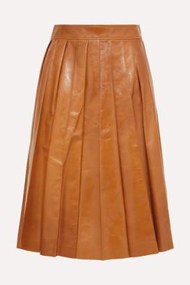 Bottega Veneta Pleated Glossed-leather Skirt - Orange
