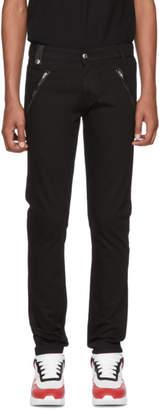 Alexander McQueen Black Leather-Trimmed Jeans