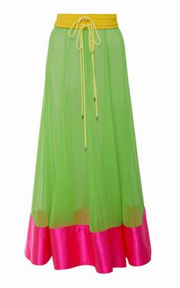 Prabal Gurung Bombo Silk-Chiffon Midi Skirt