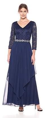 Alex Evenings Women's Long Lace Top Empire Waist Dress,8