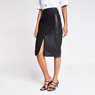 River Island Black leather pencil skirt