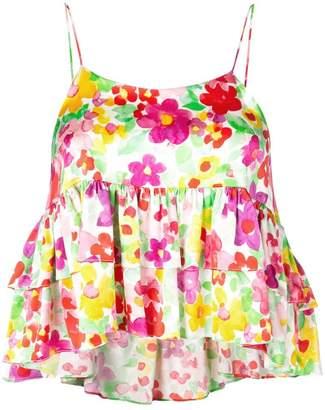 Caroline Constas floral ruffle tank top