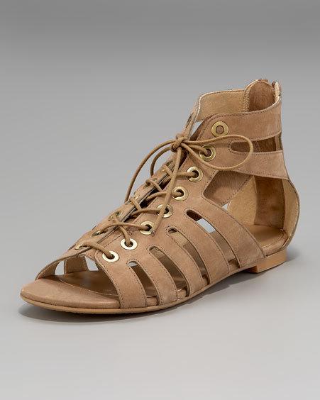 Stuart Weitzman Lace-Up Cutout Flat Sandal