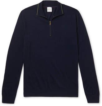 Paul Smith Slim-fit Merino Wool Half-zip Sweater - Navy