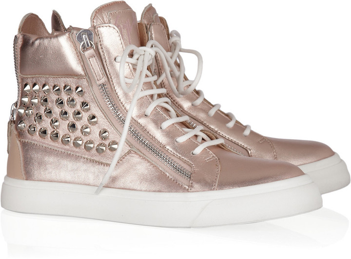 Giuseppe Zanotti Studded metallic leather sneakers