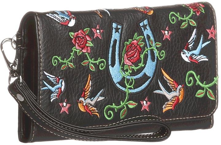 M&F Western - Bluebird Horseshoe Wristlet Wallet (Black) - Bags and Luggage