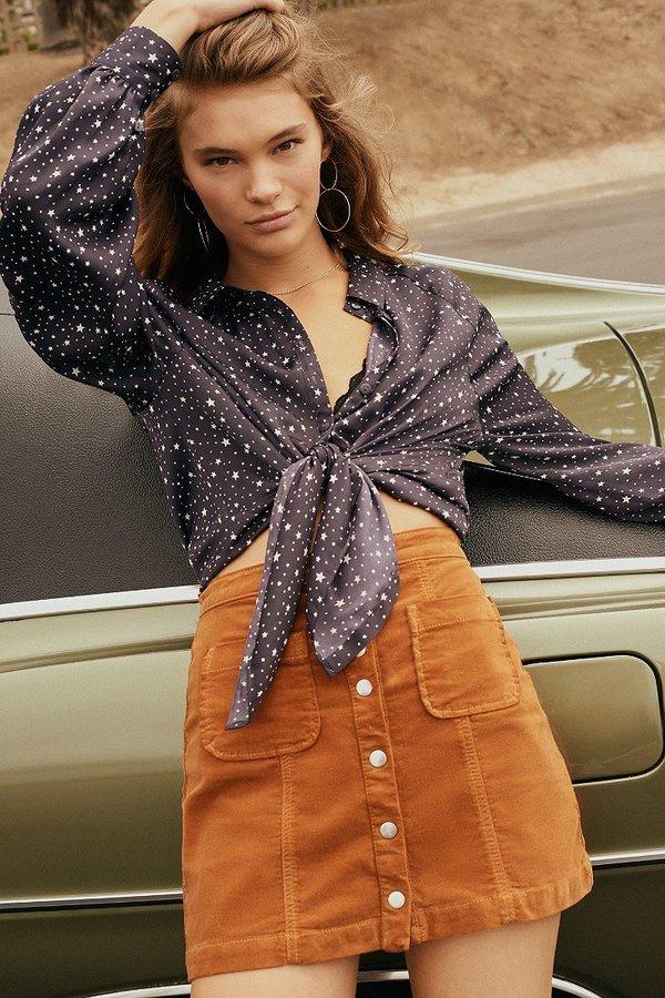 BDG Uncut Corduroy Button-Front Skirt