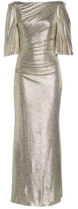 Eliza J Metallic Cape Gown