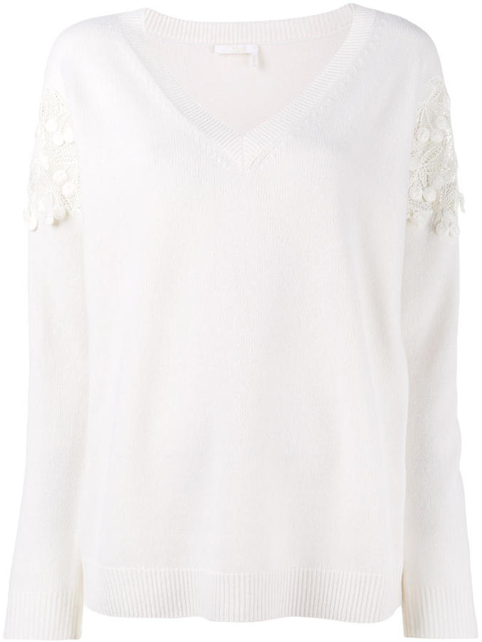 Chloé cherry lace trimmed jumper