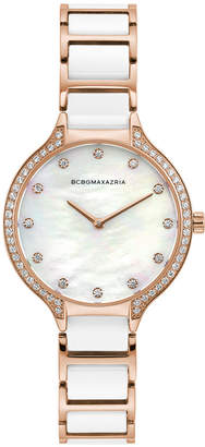 BCBGMAXAZRIA Ladies Rose GoldTone and White Ceramic Bracelet Watch with White Dial, 34MM
