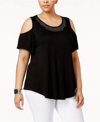 Belldini Plus Size Studded Cold-Shoulder T-Shirt