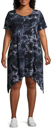 Boutique + + Printed Tie Dye Short Sleeve Shark Bite T-Shirt Dresses - Plus