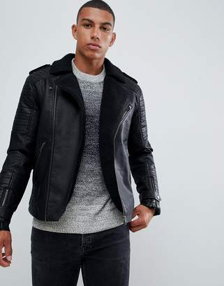 Jack and Jones Originals Faux Leather Biker Jacket With Full Teddy Lining