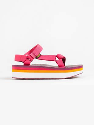 Teva Womens Flatform Universal Sandals in Pink Stripe