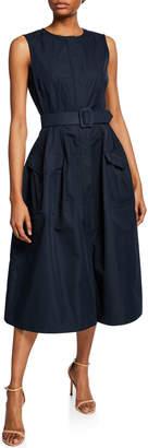 Oscar de la Renta Sleeveless Two-Pocket Snap-Front Belted Dress