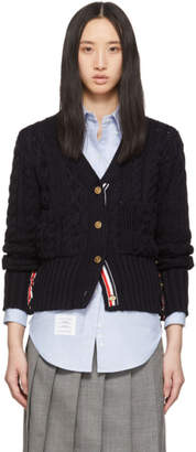 Thom Browne Navy Aran Cable Funmix Cardigan