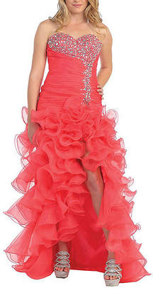 Asstd National Brand Sexy Strapless Ruffled Prom Dress With Thigh High Slit