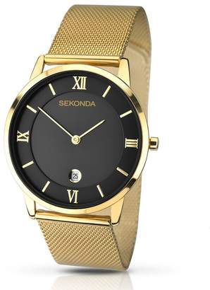 Sekonda Men's Quartz Watch with Black Dial Analogue Display and Gold Stainless Steel Bracelet 1064.27