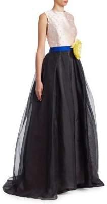 Carolina Herrera Embellished Colorblock Gown