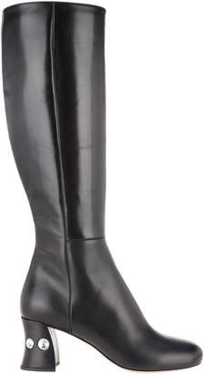 Miu Miu Crystals Embellished Heel Boots