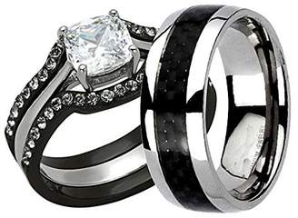 Louis Vuitton FlameReflection His & Hers Wedding Ring Set 1 Ct Cushion Shape Cubic Zirconia IP Stainless Steel Titanium 4 Pcs