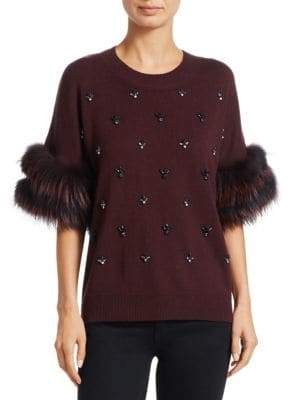 Kobi Halperin Denise Embellished Fox Fur-Trim Sweater