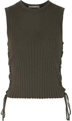 Autumn Cashmere Lace-Up Ribbed Cotton Tank