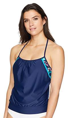 Coastal Blue Women's Standard Active Swimwear 2-in-1 Blouson Tankini Top