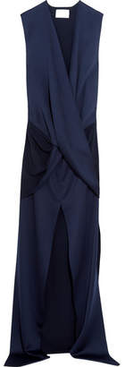 SOLACE London Erica Wrap-effect Satin Gown - Navy