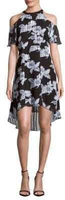 Julia Jordan Printed Cold-Shoulder Dress