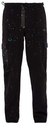 Off White Paint Splatter Fleece Track Pants - Mens - Black
