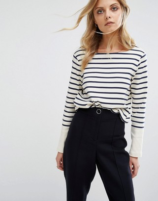 Whistles T- Shirt with Stripe Contrast Cuff $98 thestylecure.com