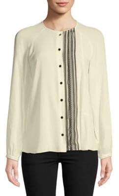 Derek Lam Collarless Silk Button-Down Shirt