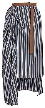 Brunello Cucinelli Women's Striped Midi Wrap Step Hem Skirt