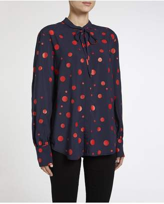 AG Jeans The Winslet Blouse - Dark Cove/ Red