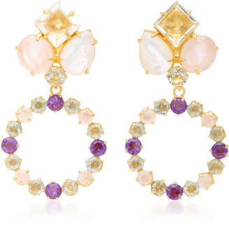 Bounkit Amethyst, Mother of Pearl and Rose Quartz 14K Gold-Plated Brass Drop Earrings