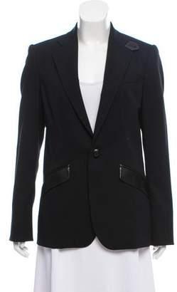 Ralph Lauren Black Label Leather-Trimmed Virgin Wool Blazer
